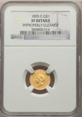 Gold Dollars, 1855-C G$1 -- Improperly Cleaned -- NGC Details. XF. Variety 2....