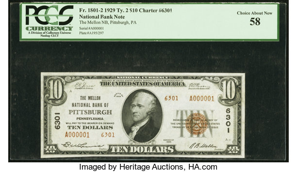 Pittsburgh Pa 10 1929 Ty 2 The Mellon National Bank Ch 6301 Lot 21592 Heritage Auctions