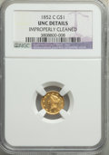1852-C G$1 -- Improperly Cleaned -- NGC Details. Unc. Variety 2....(PCGS# 7518)