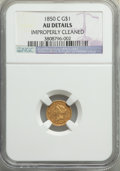 1850-C G$1 -- Improperly Cleaned -- NGC Details. AU. Variety 1