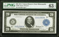 Large Size:Federal Reserve Notes, Fr. 998 $20 1914 Federal Reserve Note PMG Choice Uncirculated 63 EPQ.. ...