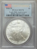 Modern Bullion Coins, 2006-W $1 Silver Eagle, Burnished, 20th Anniversary, First Strike, MS70 PCGS. PCGS Population: (293). NGC Census: (1832). 7...