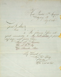 General Dan Sickles: Original Order For Detail From Gettysburg to Washington, D.C. After the Amputation of His Leg