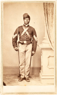 Carte de Visit of Identified Black Soldier Sgt. Charles English, Company C.,108th U. S. Colored Infantr