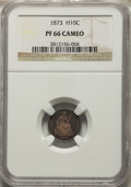 Proof Seated Half Dimes: , 1873 H10C PR66 Cameo NGC. NGC Census: (6/1). PCGS Population: (7/3). PR66. ...