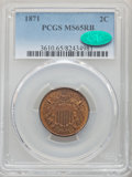 1871 2C MS65 Red and Brown PCGS. CAC. PCGS Population: (73/7). NGC Census: (57/10). CDN: $1,100 Whsle. Bid for problem-f...