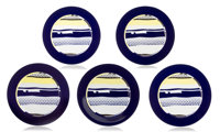 Roy Lichtenstein (1923-1997) Untitled, c. 1990 Ceramic plate in colors with glazing 12-1/4 inches... (Total: 7)