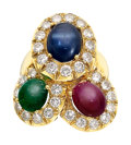 Estate Jewelry:Rings, Ruby, Emerald, Sapphire, Diamond, Gold Ring. ...