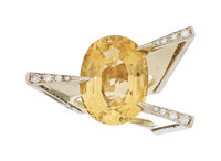 Citrine, Diamond, Gold Ring