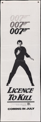 """Licence to Kill (United Artists, 1989). Folded, Overall: Very Fine-. Nylon Banner (22.5"""" X 67"""") Advance &..."""