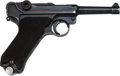Handguns:Semiautomatic Pistol, German 42 Code Luger P08 Semi-Automatic Pistol with Leather Holster.. ...