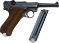 Handguns:Semiautomatic Pistol, German 42 Code Luger Semi-Automatic Pistol with Leather Holster.. ...