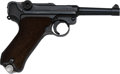 Handguns:Semiautomatic Pistol, German S/42 Luger Semi-Automatic Pistol with Leather Holst...
