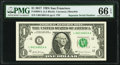 Repeater 66146614 Fr. 3004-L $1 2017 Federal Reserve Note. PMG Gem Uncirculated 66 EPQ