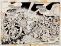 Memorabilia:Miscellaneous, Bob Brown and Don Heck Avengers #120 Double Page Splash 16-17 Production Stats (Marvel, 1974)....