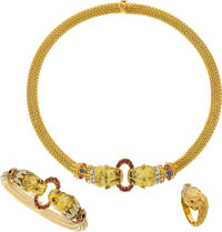 Ruby, Sapphire, Diamond, Gold Jewelry Suite, Lalaounis