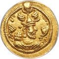 Ancients:Oriental, Ancients: SASANIAN KINGDOM. Peroz I (AD 457/9-484). AV light dinar (19mm, 3h). ANACS AU 50....