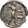 Ancients:Greek, Ancients: BRUTTIUM. Caulonia. Late 6th century BC. AR stater or nomos (30mm, 7.84 gm, 12h). NGC Choice VF★ 5/5 - 4/5, Fine Style....