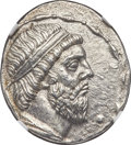 Ancients: PARTHIAN KINGDOM. Mithradates I (ca. 164-132 BC). AR tetradrachm (29mm, 15.34 gm, 1h). NGC Choice AU 4/5 - 3/5...
