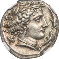 Ancients: SICILY. Siculo-Punic. Entella. Ca. 345-315 BC. AR tetradrachm (25mm, 17.16 gm, 3h). NGC Choice AU 5/5 - 4/5...