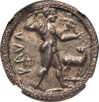 Ancients: BRUTTIUM. Caulonia. Late 6th century BC. AR stater or nomos (30mm, 8.15 gm, 12h). NGC AU 4/5 - 5/5