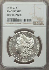 1884-CC $1 -- Obverse Cleaned -- NGC Details. Unc. NGC Census: (39/27109). PCGS Population: (111/50607). CDN: $197 Whsle...