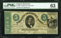 Obsoletes By State:Virginia, Richmond, VA- Commonwealth of Virginia $5 Mar. 13, 1862 Cr. 15 PMG Choice Uncirculated 63.. ...