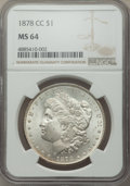 1878-CC $1 MS64 NGC. NGC Census: (4875/1439). PCGS Population: (7526/2569). CDN: $415 Whsle. Bid for problem-free NGC/PC...