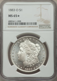 1883-O $1 MS65★ NGC. NGC Census: (11136/1088 and 127/41*). PCGS Population: (9346/1036 and 127/41*). MS65. Mintage 8,725...