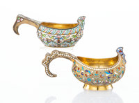 Two Russian Cloisonné Enameled and Gilt Silver Kovshes, Moscow, late 19th-early 20th century Marks to smallest: (...