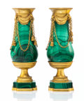 Silver & Vertu, A Pair of Russian Imperial-Style Gilt Bronze and Malachite Miniature Urns, mid-20th century. 7-1/2 x 2-1/4 x 2-1/4 inches (1... (Total: 2 Items)