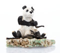 Carvings, A Carved Hardstone Figural-Panda on a Rock Crystal Base, late 20th century. 6 x 7 inches (15.2 x 17.8 cm). ...