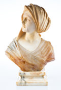 Sculpture, An Italian Carved Alabaster and Onyx Bust of a Turbaned Woman, early 20th century. 20-1/2 x 15 x 5 inches (52.1 x 38.1 x 12....