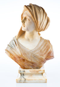An Italian Carved Alabaster and Onyx Bust of a Turbaned Woman, early 20th century 20-1/2 x 15 x 5 inches (52.1 x 3