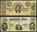 Confederate Notes:Group Lots, T26 $10 PF-2 Cr. 213 Fine;. T34 $5 1861 PF-3 Cr. 264 Very Good-Fine.. ... (Total: 2 notes)
