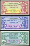 Military Payment Certificates:Series 591, Series 591 5¢; 10¢; 25¢ Choice New or Better.. ... (Total: 3 items)