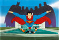 Animation Art:Production Cel, Super Friends Main Title Sequence Production Cel Setup with Partial Master Background (Hanna-Barbera, 1977)....
