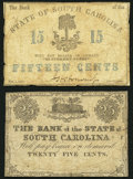 Obsoletes By State:South Carolina, Charleston, SC- Bank of the State of South Carolina 15¢; 25¢ 1861-63 Very Good.. ... (Total: 2 notes)