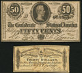 Confederate Notes:1864 Issues, T72 50 Cents 1864 PF-1 Cr. 578 Crisp Uncirculated;. CSA $30 Bond Coupon for 1864 $1,000 Bond (Not Graded).. ... (Total: 2 items)