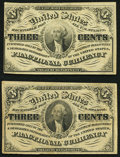 Fractional Currency:Third Issue, Fr. 1226 3¢ Third Issue Choice About New;. Fr. 1227 3¢ Third Issue About New.. ... (Total: 2 notes)