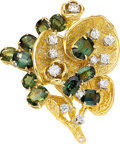 Estate Jewelry:Brooches - Pins, Green Sapphire, Diamond, Gold Brooch, Peter Lindeman. ...