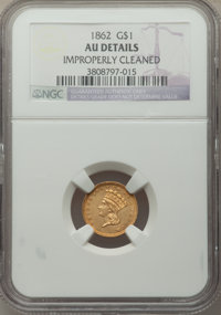 1862 G$1 -- Improperly Cleaned -- NGC Details. AU. NGC Census: (3/3154). PCGS Population: (42/2826). AU50. Mintage 1,361...