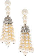 Estate Jewelry:Earrings, Cultured Pearl, Diamond, Platinum, White Gold Earrings. ...