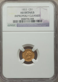1853 G$1 -- Improperly Cleaned -- NGC Details. AU. NGC Census: (15/11086). PCGS Population: (116/7056). AU50. Mintage 4...