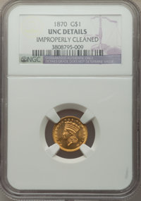 1870 G$1 -- Improperly Cleaned -- NGC Details. Unc. NGC Census: (3/87). PCGS Population: (3/110). CDN: $775 Whsle. Bid f...