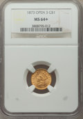 1873 G$1 Open 3 MS64+ NGC. NGC Census: (212/59 and 7/0+). PCGS Population: (247/77 and 11/5+). MS64. Mintage 123,300...
