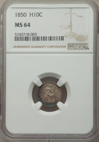1850 H10C MS64 NGC. NGC Census: (63/57). PCGS Population: (52/55). MS64. Mintage 955,000