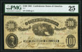 Confederate Notes:1861 Issues, T7 $100 1861 PF-4 Cr. 11 PMG Very Fine 25.. ...