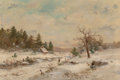 Paintings, George Frank Higgins (American, 19th Century). Winter. Oil on canvas. 20 x 30 inches (50.8 x 76.2 cm). Signed lower righ...