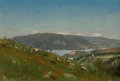 Paintings, Frank Anderson (American, 1844-1891). Glimpse of the Lake, Hudson Valley, 1867. Oil on canvas laid on board. 7-3/4 x 11-...
